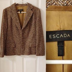 Escada herringbone plaid wool blazer jacket 44